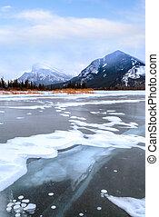 Frozen Vermilion Lakes in Banff National Park in Winter