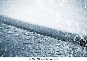 Frozen Water Drops on a Car