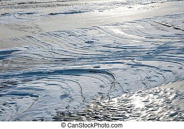 frozen water of the sea in winter