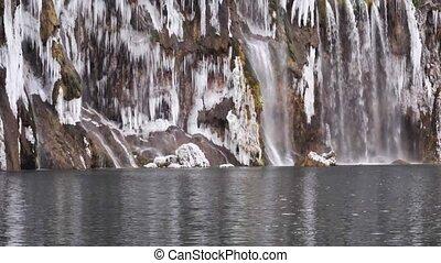 Frozen Waterfalls in Plitvice National Park, Croatia