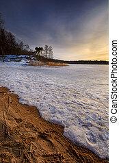 Frozen wave in a lake in Gothenburg Sweden 2018