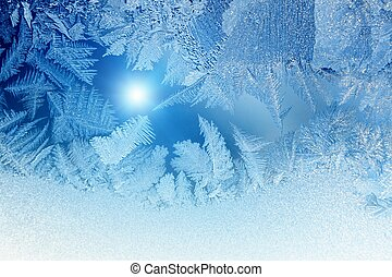 Frozen window - Abstract winter background - blue frozen...