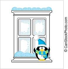 Frozen window and Penguin San...