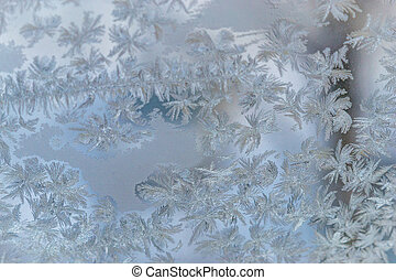 frozen window close-up