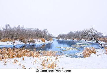 frozen winter river