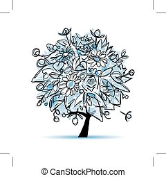 Frozen winter tree floral for your design