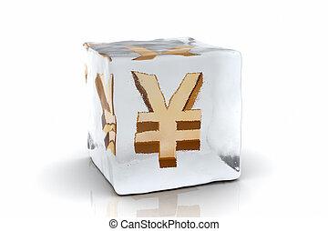 Frozen Yen - A golden Yen symbol frozen inside an ice cube (...