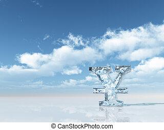 frozen yen symbol under cloudy blue sky - 3d illustration