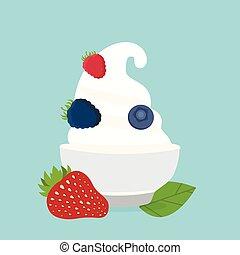 frozen yogurt in the cup with berries vector design template