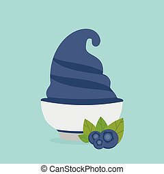 frozen yogurt in the cup with blueberry vector design template