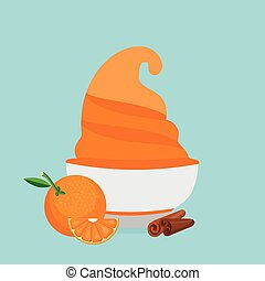 frozen yogurt in the cup with orange and cinnamon vector design template