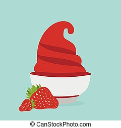 frozen yogurt in the cup with strawberry vector design template
