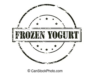 Rubber stamp with text frozen yogurt inside, vector illustration