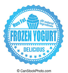 Frozen yogurt stamp - Frozen yogurt grunge rubber stamp on...