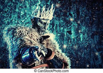 frozen zombie king - Halloween. The King zombie warrior in...