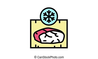 frozing meat animated color icon. frozing meat sign. isolated on white background
