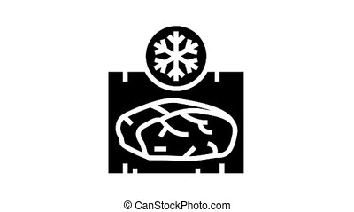 frozing meat animated glyph icon. frozing meat sign. isolated on white background