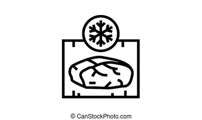frozing meat animated black icon. frozing meat sign. isolated on white background