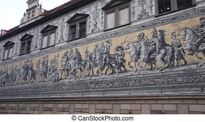F?rstenzug giant mural decorates mosaic wall. Dresden, ...
