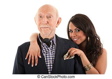 fru, äldre, kamrat, rik, eller, gold-digger, man