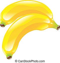 fruechte, banane, clipart, ikone