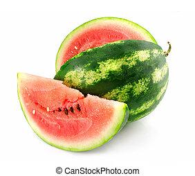 fruechte, freigestellt, läppchen, reif, water-melon