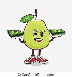 fruechte, geld, guave, karikatur, maskottchen, zeichen, hände