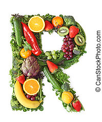 fruechte, und, gemüse, alphabet