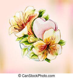 fruehjahr, aquarell, blumen, in, vase., gruß, card.