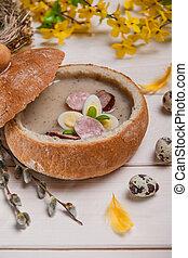 fruehjahr, christ, holiday., weißes, borscht, in, bread