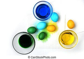 fruehjahr, eier, hintergrund., holiday., weißes, ostern