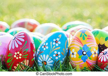 fruehjahr, eier, muster, grass., ostern, kunst, unique., hand-gemalt