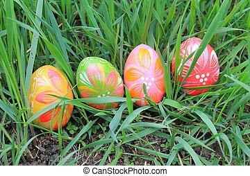 Fruehjahr, Eier, Ostern, Wiese