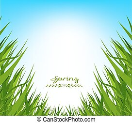 fruehjahr, gras, hintergrund, frisch