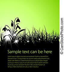 fruehjahr, hintergrund, gras, vektor