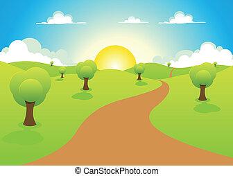fruehjahr, oder, karikatur, landschaftsbild, sommer