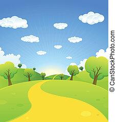 fruehjahr, sommer, karikatur, landschaftsbild, oder