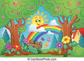 fruehjahr, thema, regenbogen