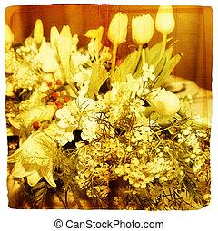 fruehjahr, tulpenblüte, und, lilie, blumengebinde, hintergrund