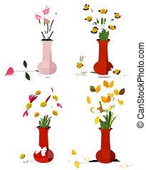 fruehjahr, und, sommer, farbenfreudige blumen, in, vasen