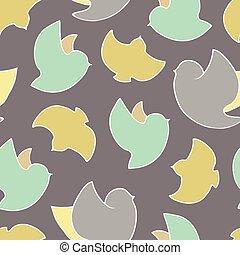 fruehjahr, vögel, seamless, pattern.