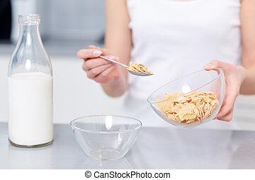 fruehstueck, eiche, flocken, milk.