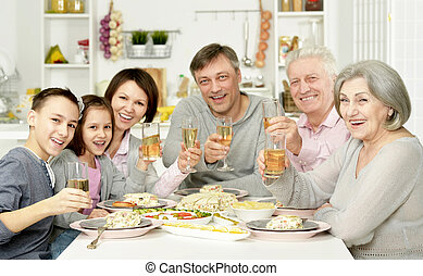 fruehstueck, haben, zusammen, familie