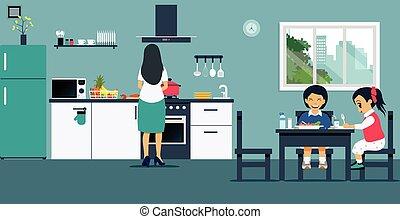 kochen kinder kueche junge wenig zusammen kochen abbildung vektor kitchen spa m. Black Bedroom Furniture Sets. Home Design Ideas