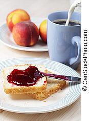 fruehstueck, mit, toaste, und, marmelade