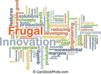 frugal, concepto, plano de fondo, innovación
