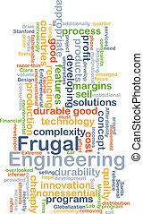 frugal, ingeniería, concepto, plano de fondo