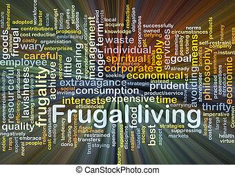frugal, levande, bakgrund, begrepp, glödande