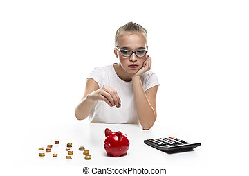 Frugal Teenage Girl Posing With Coins Making Savings with Moneybox.Horizontal Image
