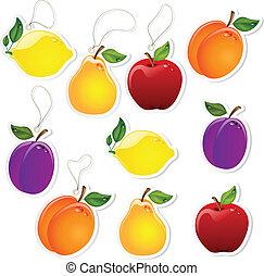 frugt, etiketter
